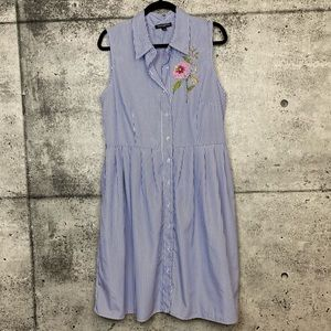 Sharagano / Striped Button Front Embroidered Dress
